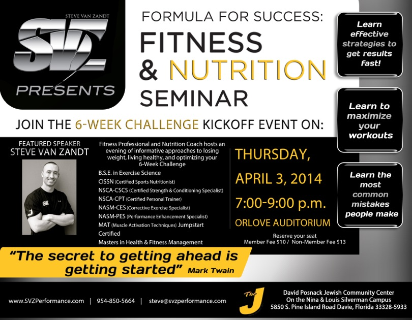 Formula For Success Fitness  Nutrition Seminar At The Dpjcc