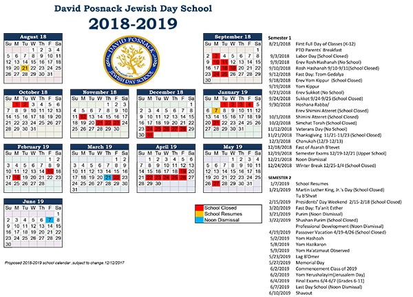 Proposed 2018 2019 School Calendar | Posnack School