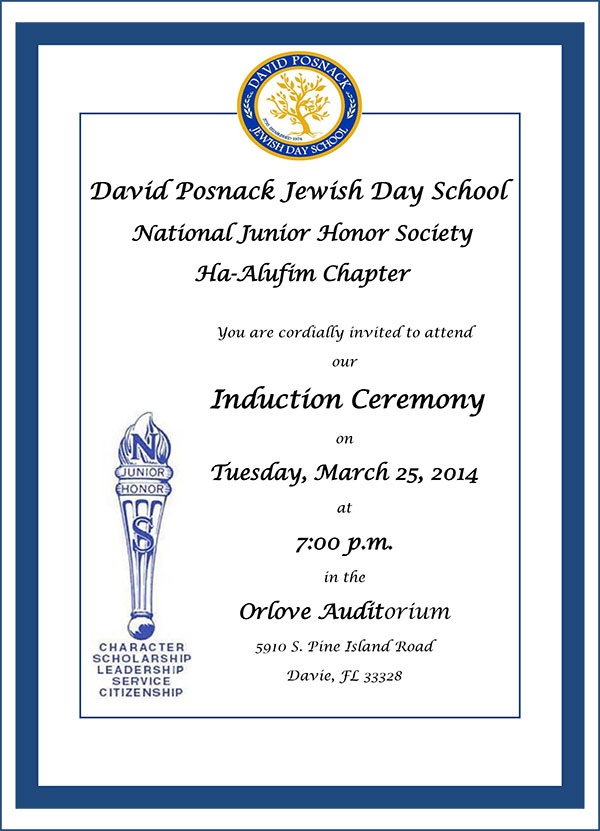National Junior Honor Society Induction Tuesday March 25 7pm
